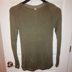 Lululemon Sunshine Coast Sweater Fatigue Green EUC